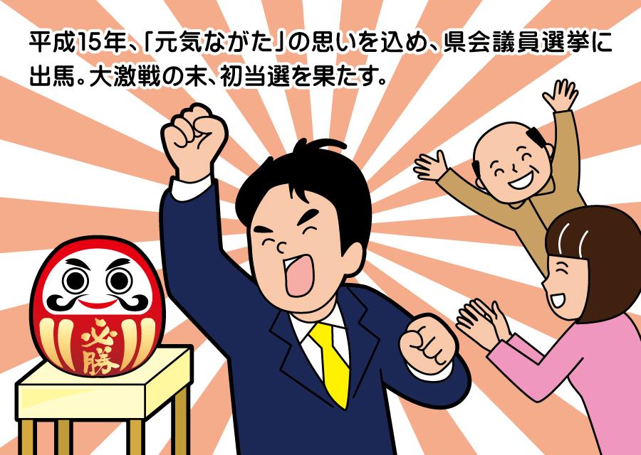 平成15年、「元気ながた」の思いを込め、県会議員選挙に出馬。大激戦の末、初当選を果たす。